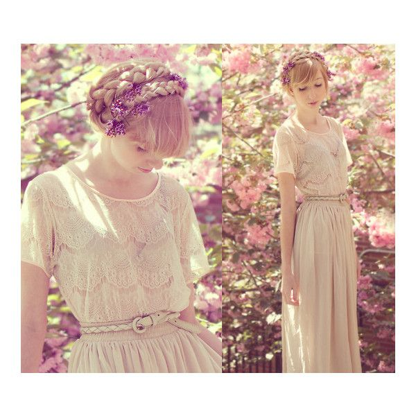 american apparel cream maxi skirt Braids Cherry Blossoms Elle Ribera ❤ liked on Polyvore featuring pictures, image, lookbook, pics and street style