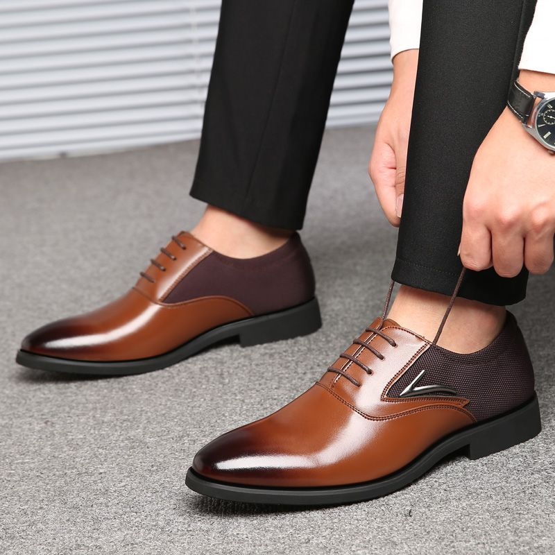 Leather Shoes for Men 2019 New Classic Genuine Oxford Cap Toe Business Dress Shoes