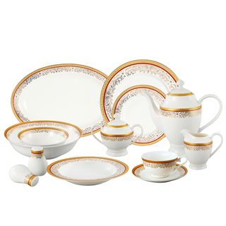 Dinnerware For Less  sc 1 st  Pinterest & La Luna Collection Bone China 57 Piece Red and 24K Gold Design ...