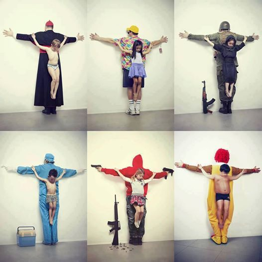 """The first image refers to pedophilia in the Vatican. Second child sexual abuse in tourism in Thailand, and the third refers to the war in Syria. The fourth image refers to the trafficking of organs on the black market, where most of the victims are children from poor countries; fifth refers to weapons free in the U.S.. And finally, the sixth image refers to obesity, blaming the big fast food companies. The new series produced by Cuban artist Erik Ravelo was titled as ""The Untouchables"""