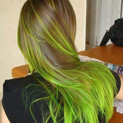 Mousy Brown Hair With Lime Green Highlights Hair Styles Green Hair Hair Inspiration