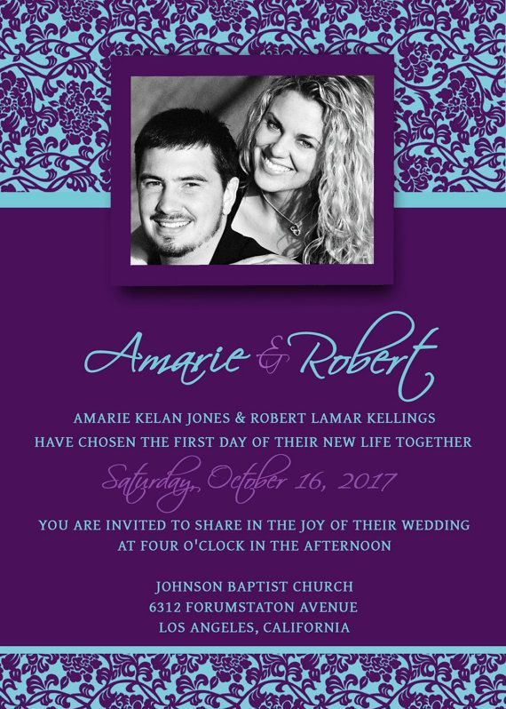 Printable Wedding Invitation Template PSD Photoshop Violet - Wedding invitation templates with photo