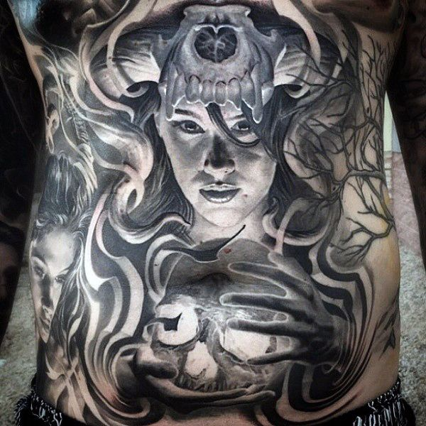 Pin By Mytorius On Believe Tattoo Men: Mysterious Stomach Tattoos For Guys In Black Ink