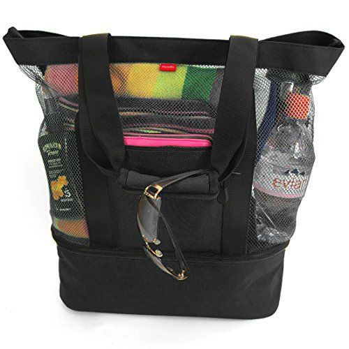 This Lightweight 20 X16 X6 Beach Tote Bag Can Easily Carry 4 Large Towels And Features Two External Pockets One Zippered For Valuables Or Cell Phone