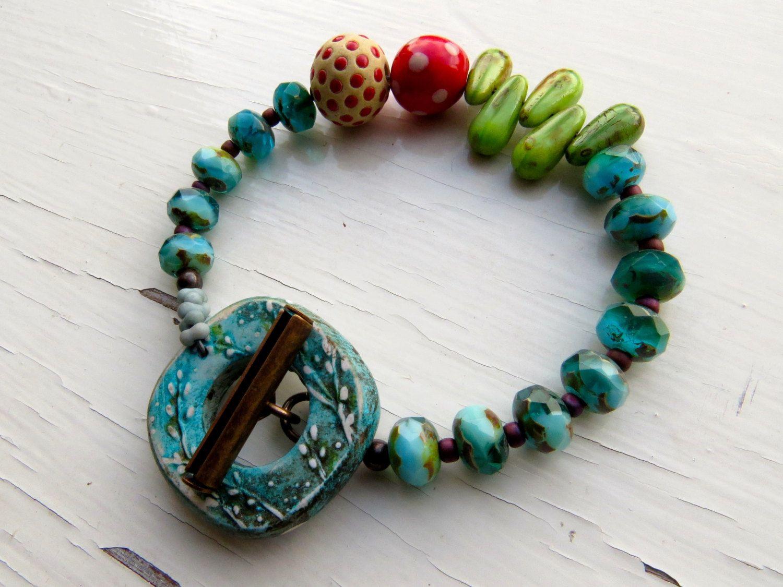 Garden Green  handmade bracelet bead bracelet green door songbead, £32,00