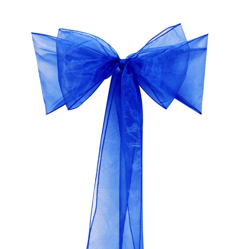 Wedding decorations with royal blue  SASHES CHAIR BOWS royal blue organza sash for wedding and events