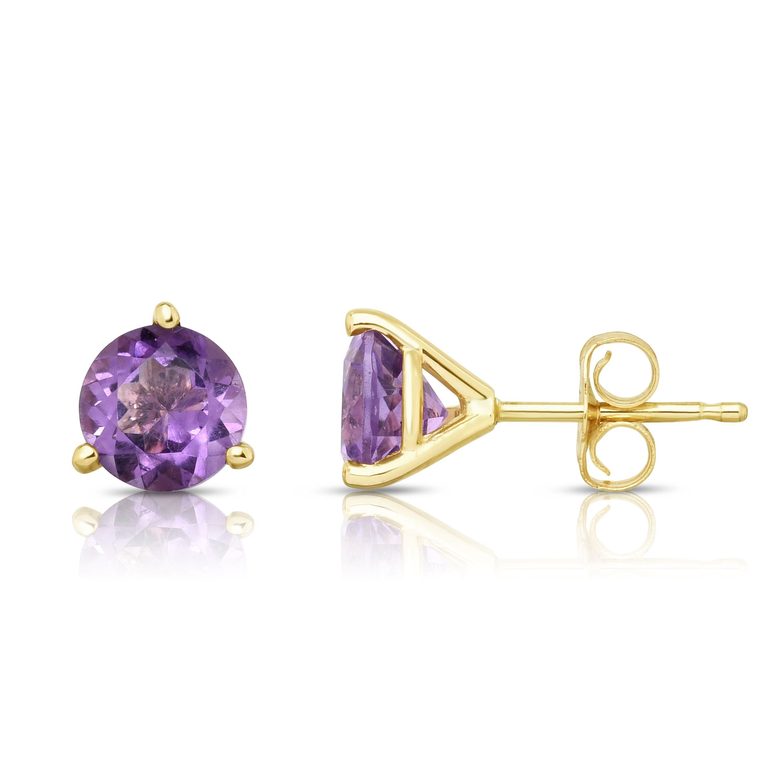 Noray Designs 14K Yellow Gold Amethyst Stud Earrings (6 MM; Round Cut; Martini Setting). Our jewelry is Made in USA. Gemstones may have been treated to improve color and appearance. The process is safe and permanent. Free Shipping on all orders. Free Jewelry Gift Box on all purchases. 30 Day Warranty.