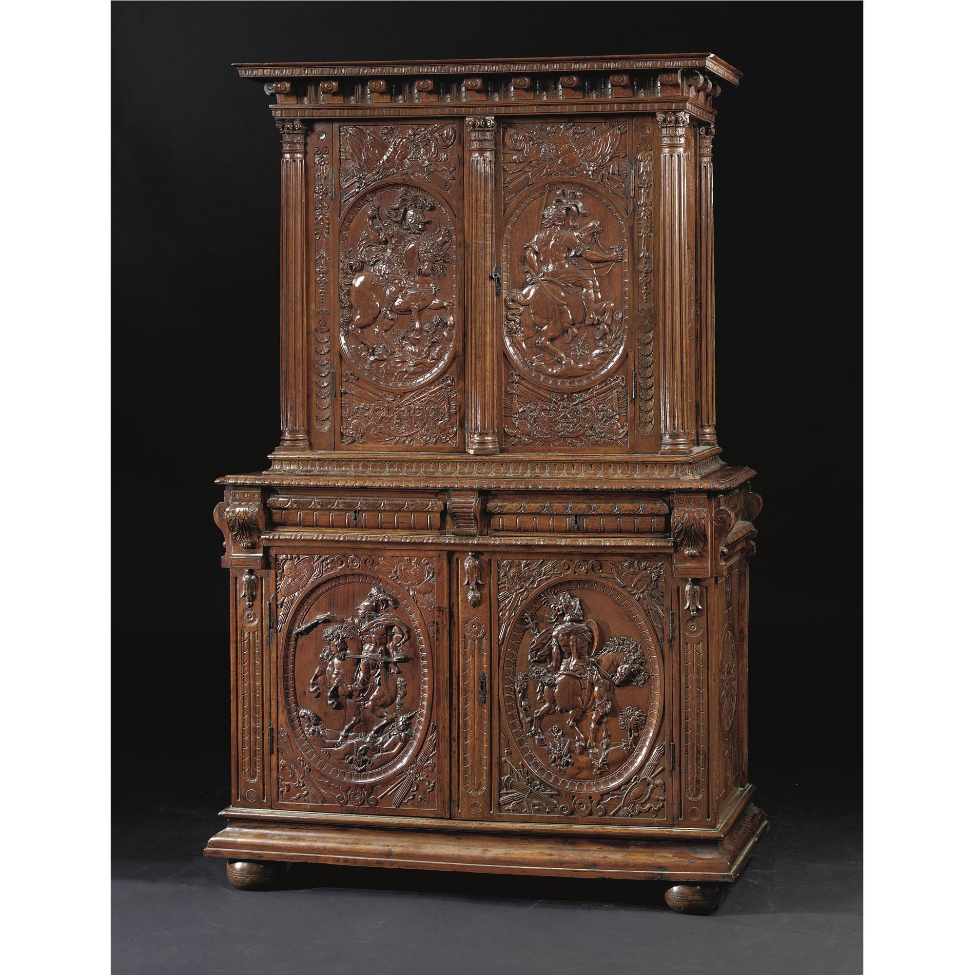 An Henri II Renaissance carved walnut buffet  deux corp