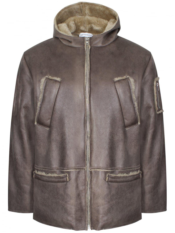 435.00 Gosha Rubchinskiy Hooded Sheepskin Coat Beige (faux fur ...