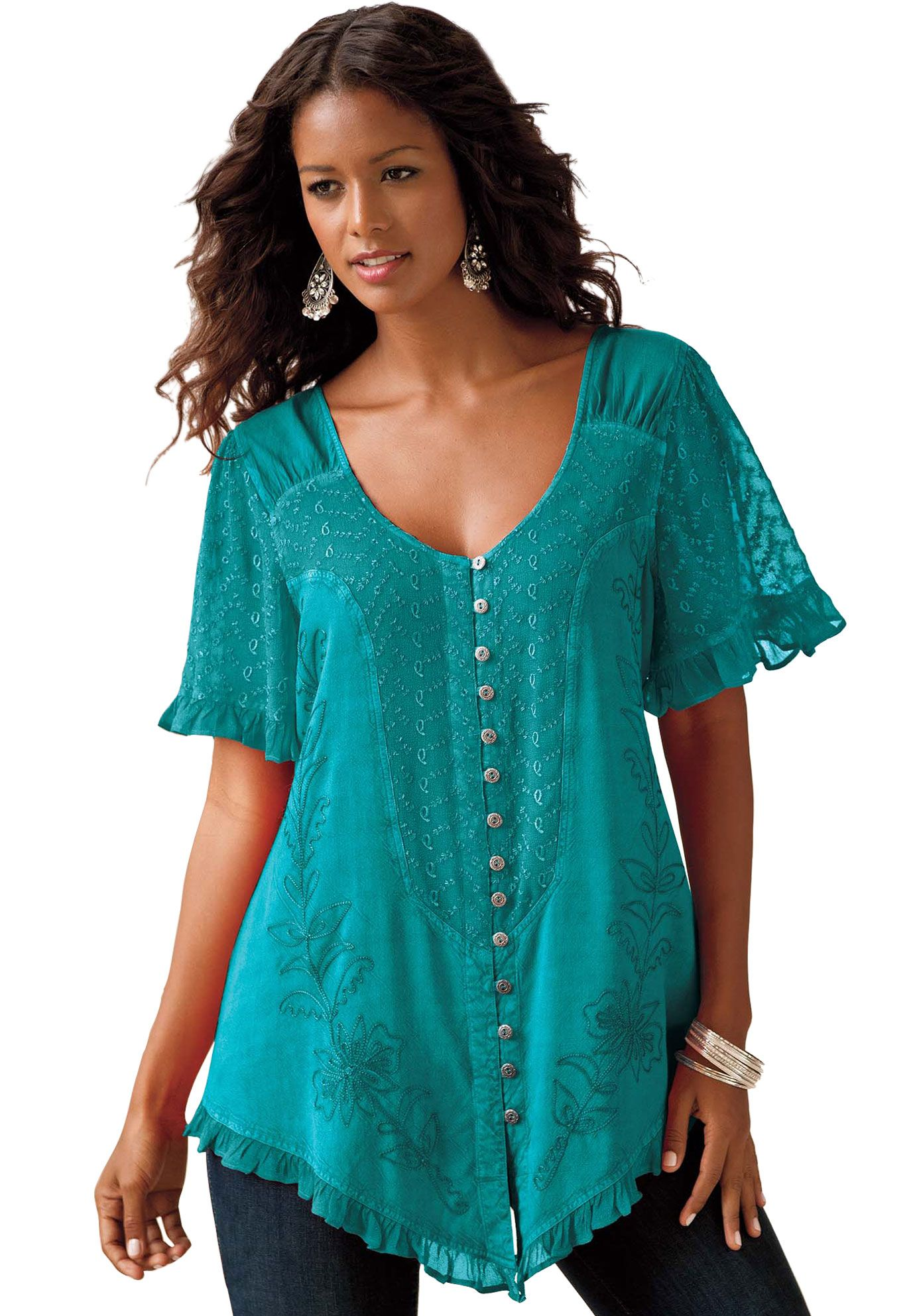 Women Casual Lace Shirts V-neck Long Sleeve Loose Tunic Top Work Blouse Size8-26