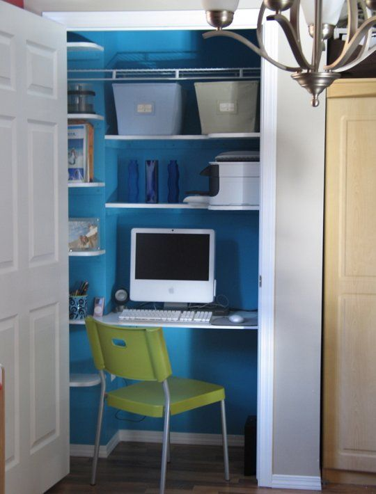 How To: Hide a Home Office in a Closet | Nooks and Crannies ... Closet Home Office Design Ideas on home office california, home dining room design ideas, home garage design ideas, home kitchen design ideas, spring office decor ideas, home office kitchen cabinets, closet organization ideas, home office closet organization, home office shelving system, closet office storage ideas, home office closet storage, office den ideas, home office storage cabinets, home office sliding doors, small closet ideas, home office wall colors blue, closet into office ideas, closet desk ideas, bedroom office design ideas, closet remodeling ideas,