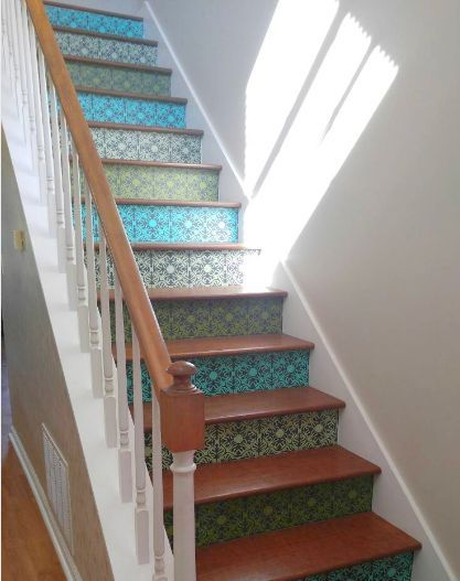 Olive, Teal And Grey On Charcoal Backer Vinyl Stair Riser Decals By  Crowbabys