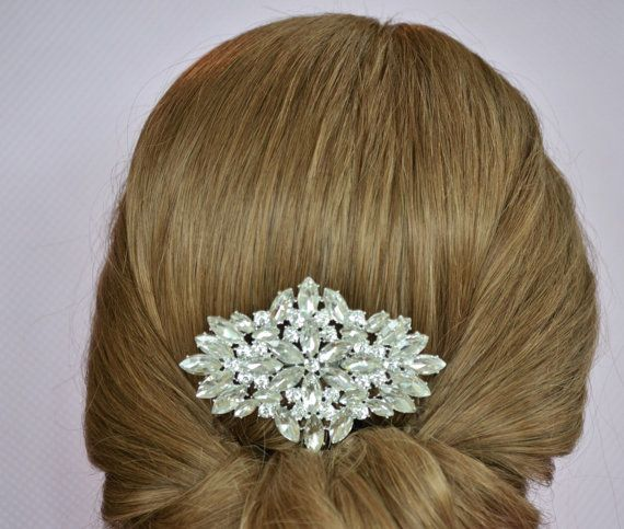 Rhinestone Hair Comb ~ Hair Jewelry Comb ~ Bridal Hair Comb ~ Crystal Hair Comb ~ Bridal Head Piece ~ Bridal Hair Piece ~ Chignon Hair Comb ~ by BlissInBloom.etsy.com This bridal hair comb sparkles with large brilliant rhinestones and is definitely a statement piece. Nestles perfectly into your hair whether up, down, or somewhere in between.