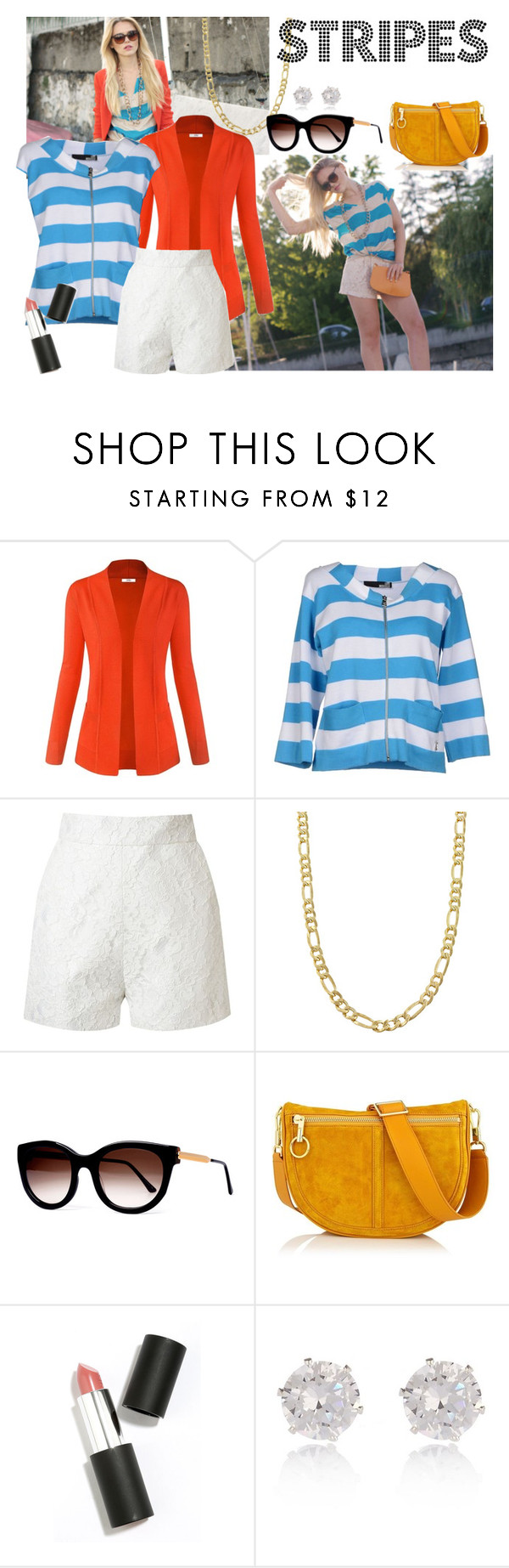 """""""Summer stripes"""" by skyequake on Polyvore featuring Love Moschino, Martha Medeiros, Fremada, Thierry Lasry, Elizabeth and James, Sigma Beauty, River Island and stripes"""
