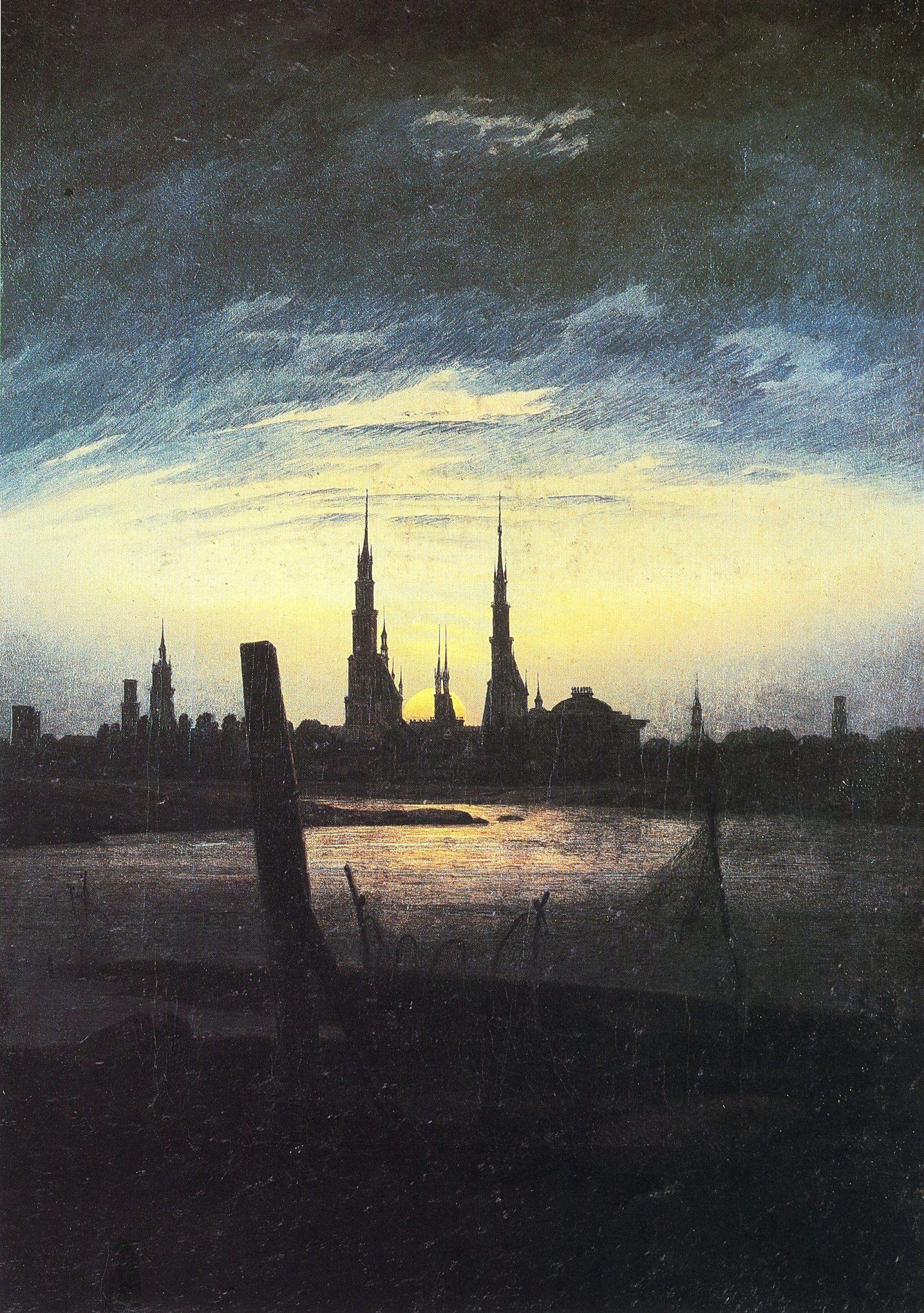 Landschaftsmalerei romantik friedrich  Caspar David Friedrich Stadt bei Mondaufgang | Caspar David ...