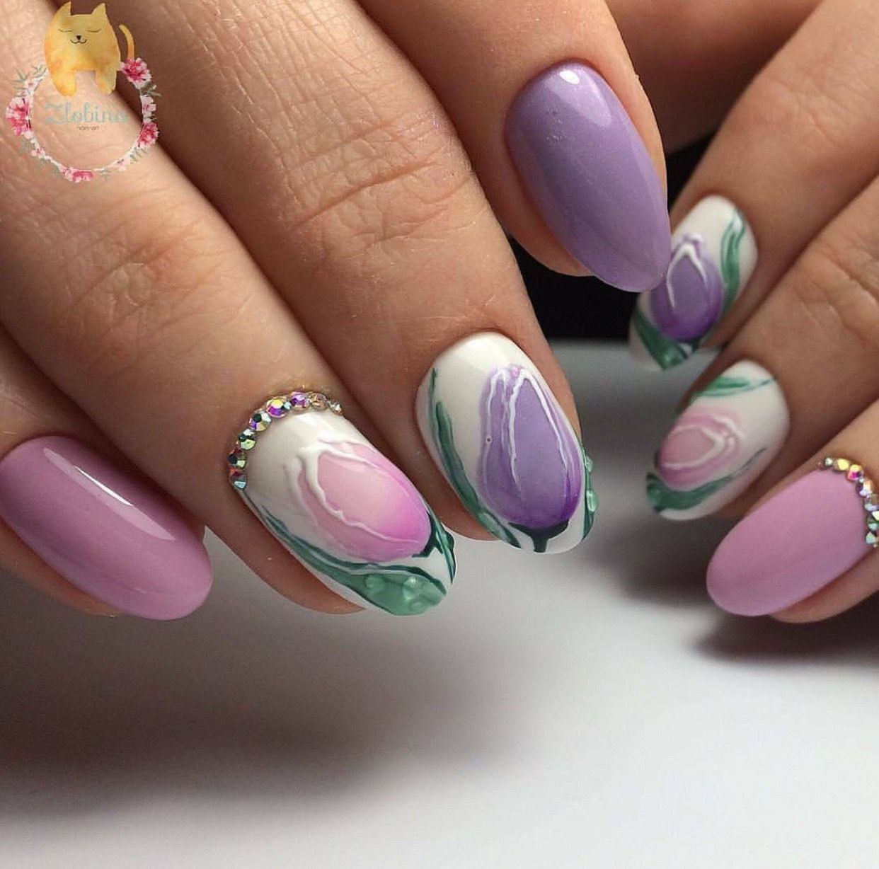 Pink Purple White Nail Color Pastel Inspired Nails Floral Nail