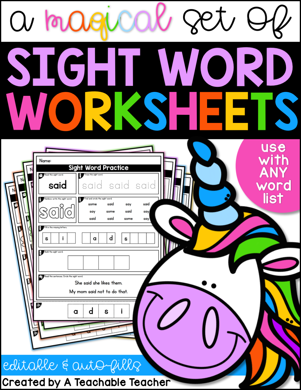 Editable Sight Word Worksheets These Worksheets Are Awesome They Auto Fill With Any Sight Sight Words Kindergarten Sight Word Worksheets Sight Word Practice [ 1294 x 1000 Pixel ]