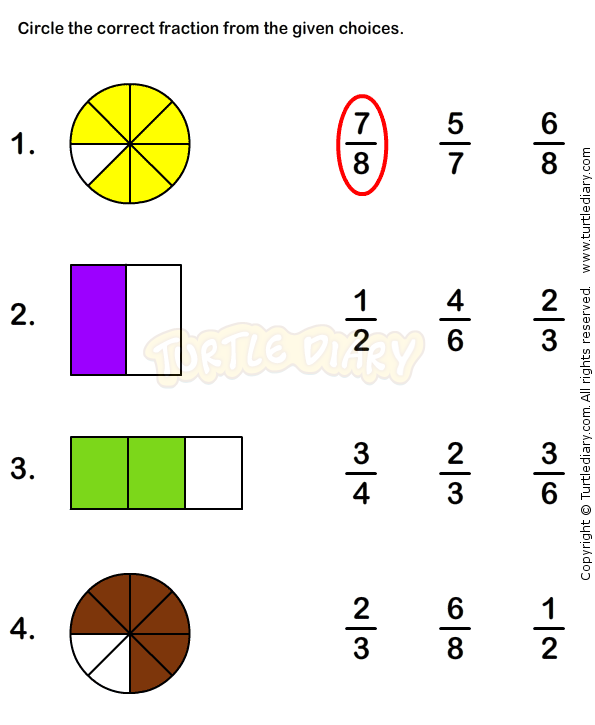 Fractions Worksheet 4 math Worksheets grade1