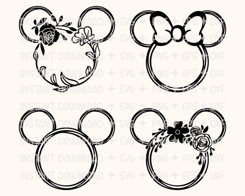 Mickey Floral Svg,Mickey Wreath Svg Mickey Minnie Head Svg,Laurel Svg,Mickey Minnie Flower Svg,Floral Mickey Head Svg,Cut File For Cricut