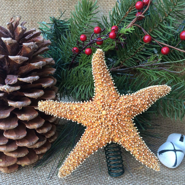 Hawaiian Christmas Tree Topper: Sugar Starfish Tree Topper, Christmas Tree Topper, Natural