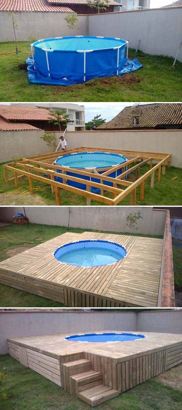 Above ground pool deck top 19 simple and low budget for Diy above ground pond ideas