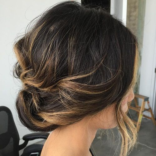Hairstyles , Low Loose Updo For Balayage Hair