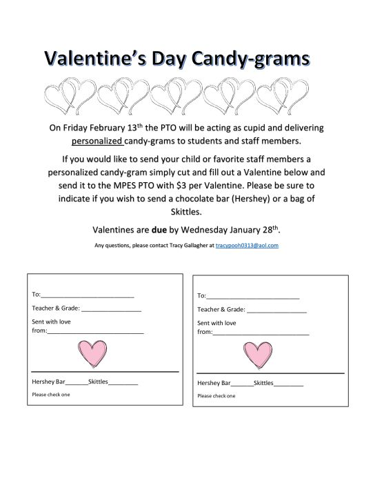 Take home letter with form Candy Grams Candy grams, Letter to