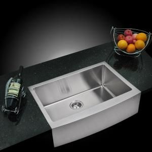 Water Creation Farmhouse Apron Front Small Radius Stainless Steel 30 In Single Bowl Kitchen Sink With Strainer In Satin Sss As 3022b Single Bowl Kitchen Sink Apron Front Kitchen Sink Apron Sink Kitchen