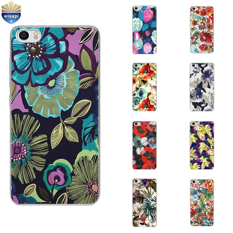 Phone Case For Xiaomi Mi 4 4i 4c 4s 5 Max Note 2 TPU Shell Hongmi Redmi 3 Pro Note 2 3 4 Back Cover Abstract Flowers Design