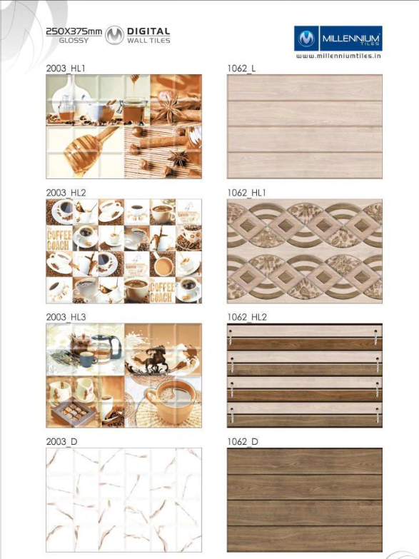 Backsplash Design 2003 1062 Millennium Tiles 250x375mm 10x15 Digital Ceramic Glossy Walltiles Series 2003 Hl1 2003 Hl2 2003 Hl3 2003 D 1062 L