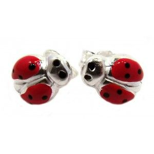 Baby And Children S Jewelry Sterling Silver Ladybug Earrings To Match The Bracelet