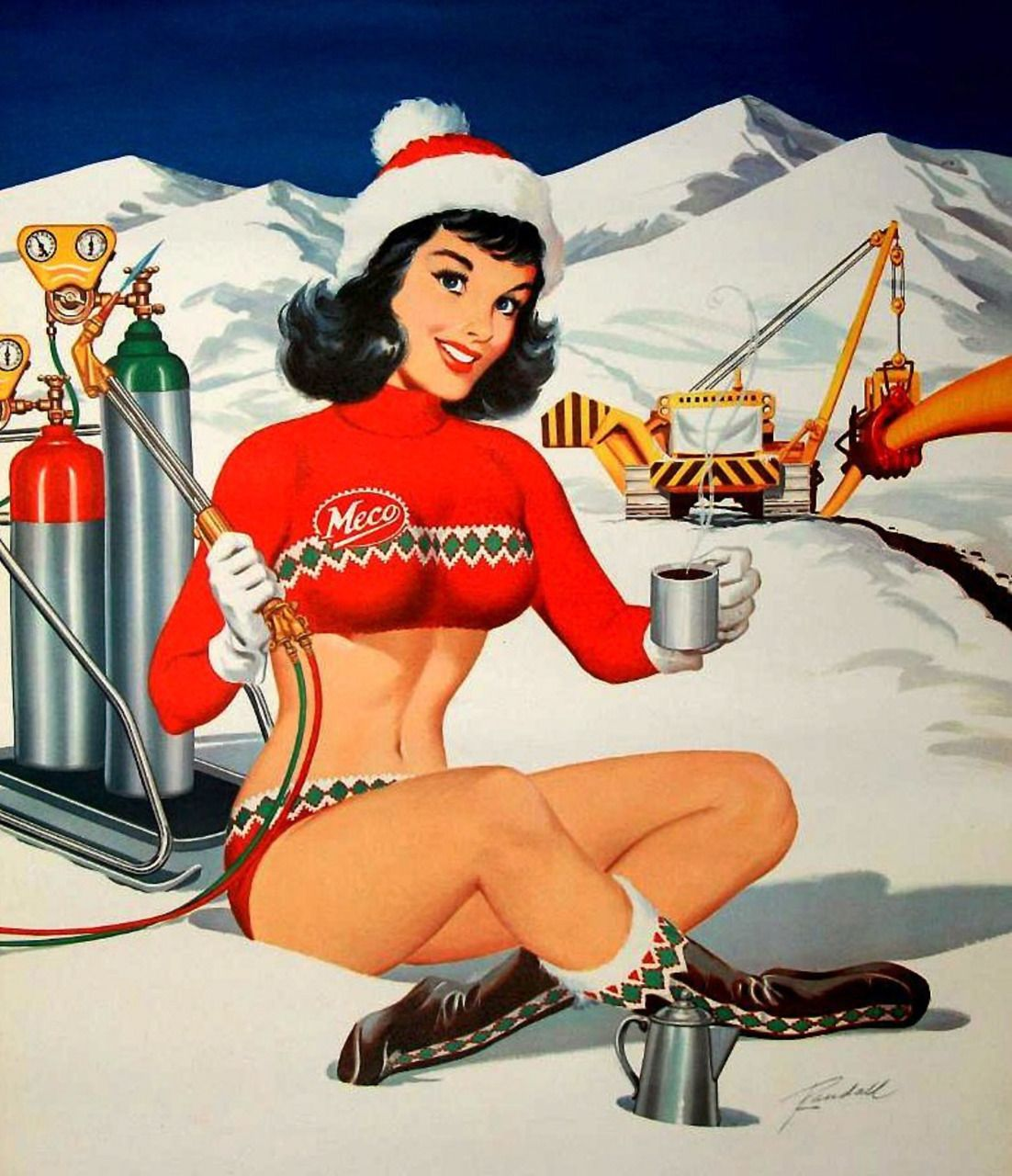 Hitting the slopes! ::Vintage Christmas Pinup Girl:: Retro ...
