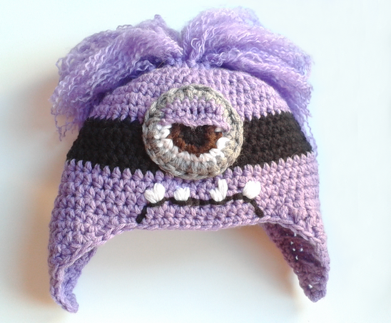 Patrón gratis de un gorro de Minion a crochet | Morado** | Pinterest ...