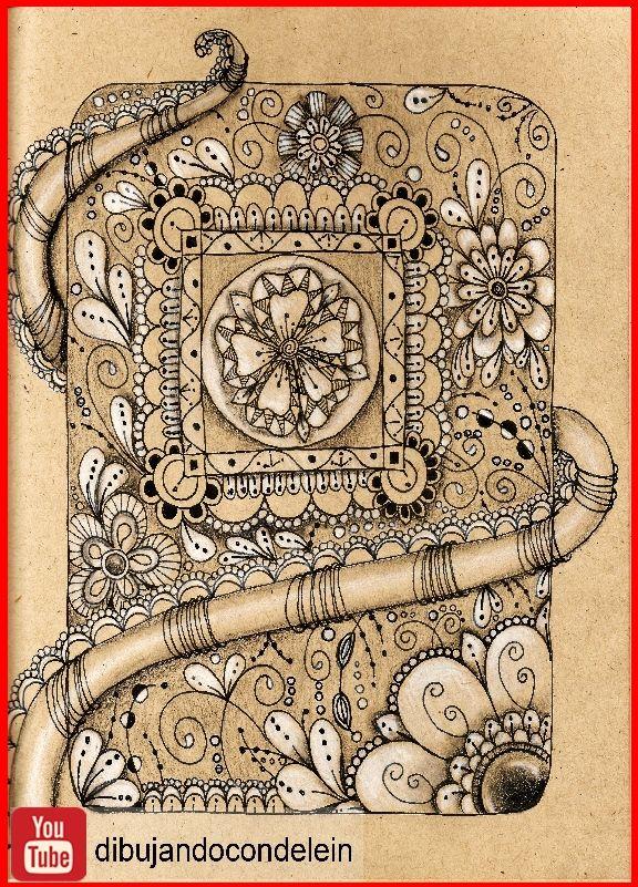 Zentangle Art Paso A Paso Diseno 15 Este Dibujo Es El Que Acompana Al Diseno Patron Zentangle Estampados Zentangle Como Dibujar