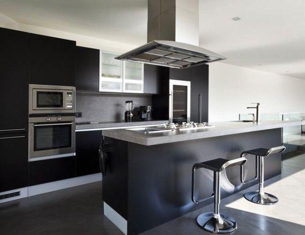 cocina moderna lacada con isla inspiración de diseño de interiores