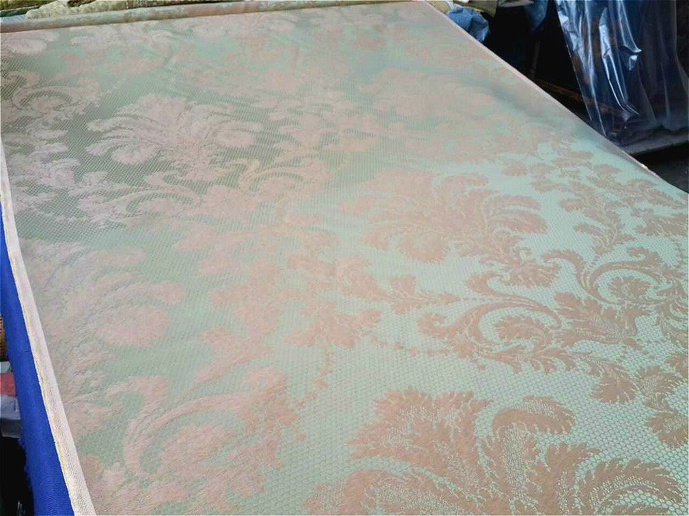 High End French Silk Light Green Pink Floral Damask Upholstery