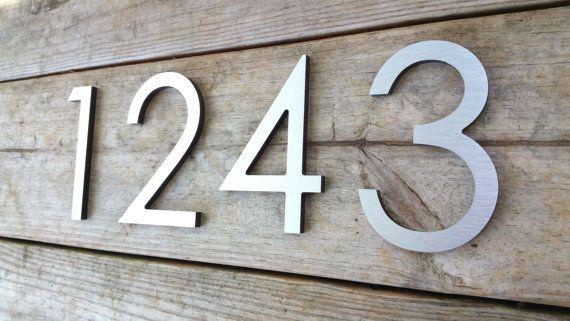 6 Modern House Numbers Brushed Aluminum Stud Mounted Metal