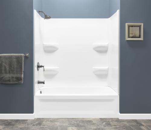 Lyons Elite 60 X 30 X 75 White Left Drain Soaking Bathtub With Corner Shelf Wall Kit Soaking Bathtubs Shower Tub Wall Shelves