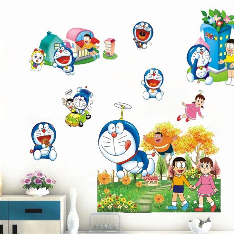 click to buy << cartoon doraemon wall stickers happy doraemon cat