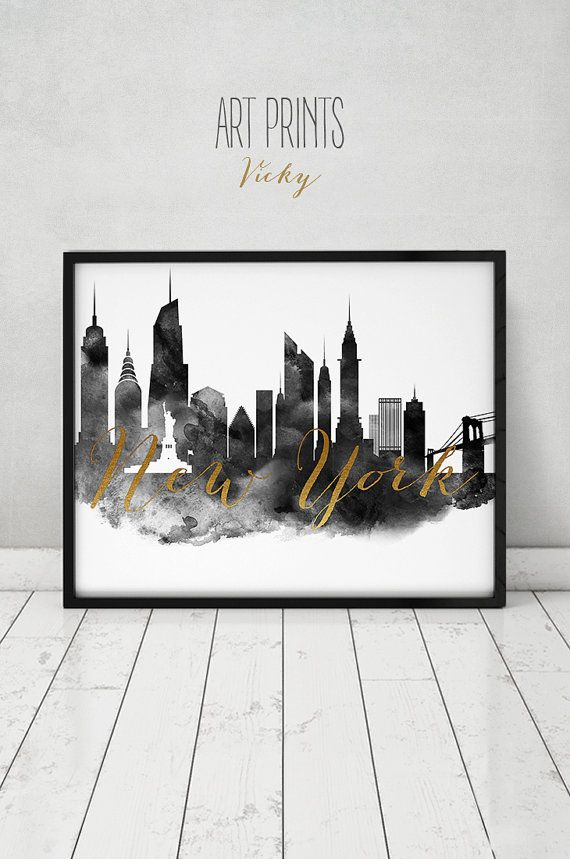 New York Print Black And White Art Nyc Poster Simulation Of