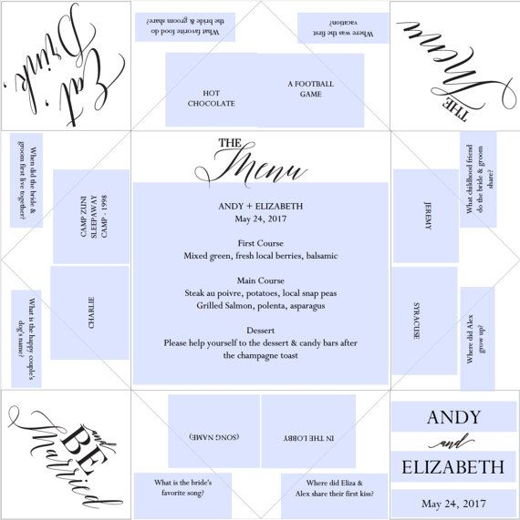 Printable Wedding ProgramMenuFavor  Cootie CatcherFortune