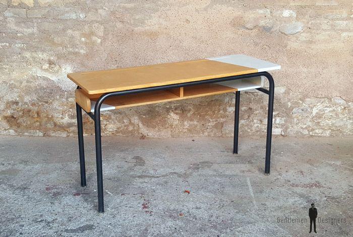 Bureau d école ancien bois et métal gris clair