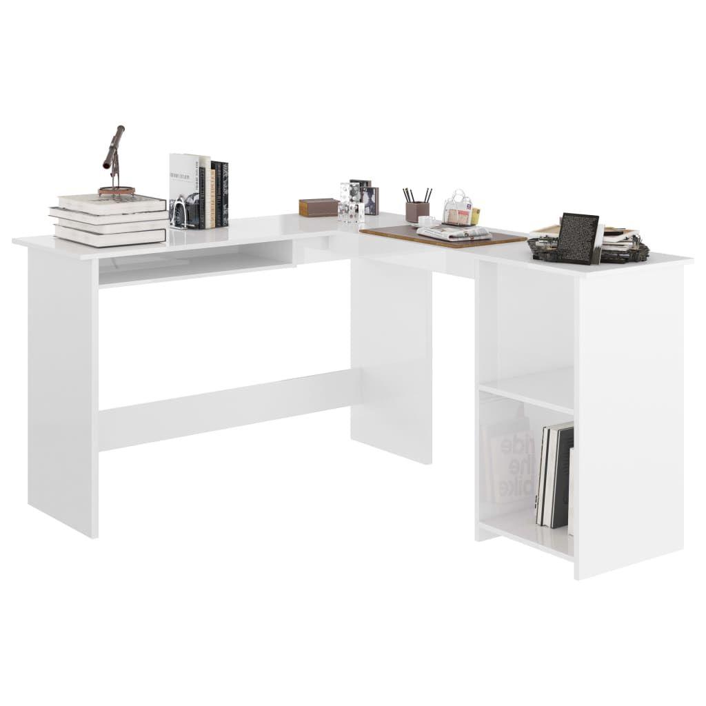 vidaXL L-Shaped Corner Desk High Gloss White 120x140x75 cm Chipboard