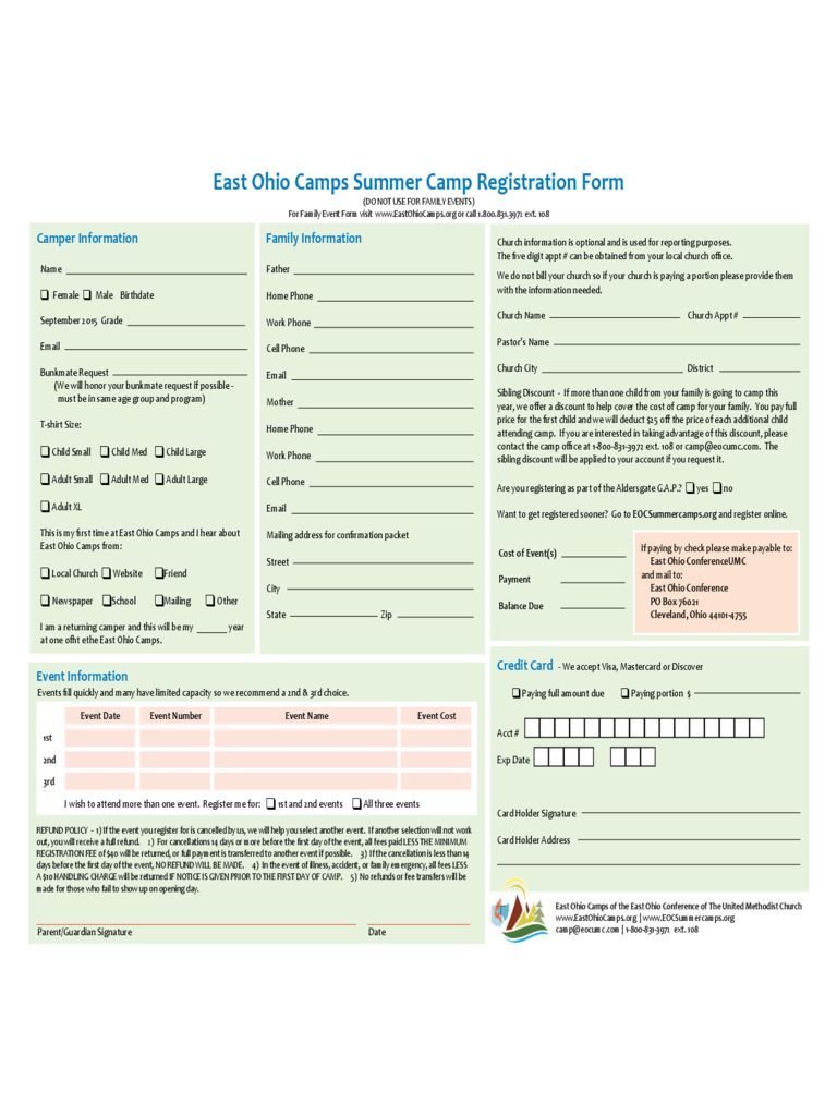 Summer Camp Registration Form 2 Free Templates In Pdf Within Camp Registration Form Template Word Best C Professional Templates Templates Business Template