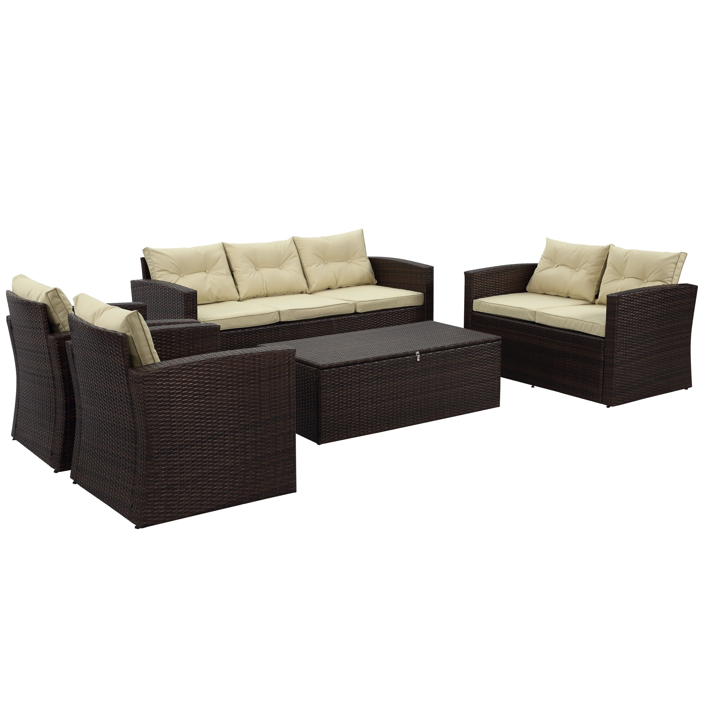 Charlton Home Garmon 5 Piece Deep Seating Group with Cushion