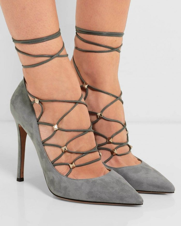 Valentino Garavani Rockstud Suede Lace-Up 105mm Pump, Light Stone