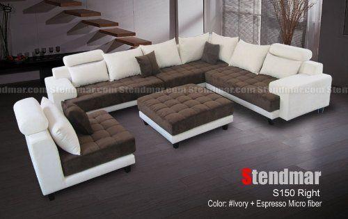 5pc Modern 2 Tone Microfiber Sectional Sofa S150rie By Stendmar