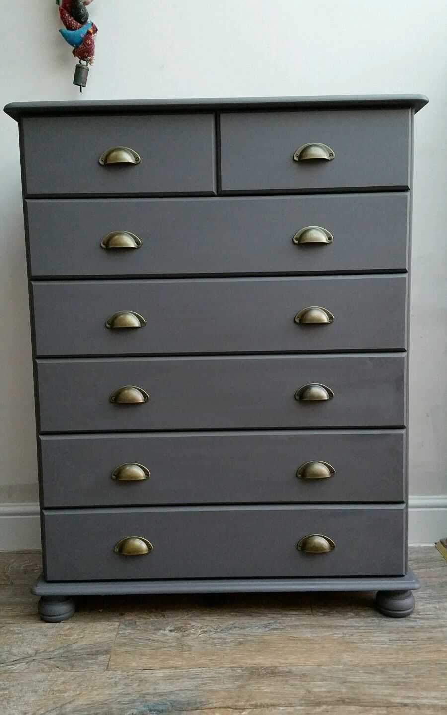 Stunning Pine Chest Of Drawers Bun Feet Painted Grey Shabby Chic Industrial Ebay