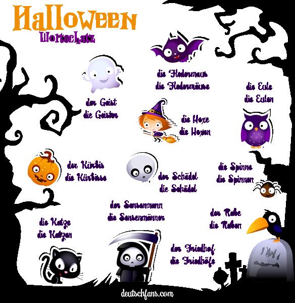 Halloween Wortschatz | Deutsch lernen (German, allemand, Duits ...