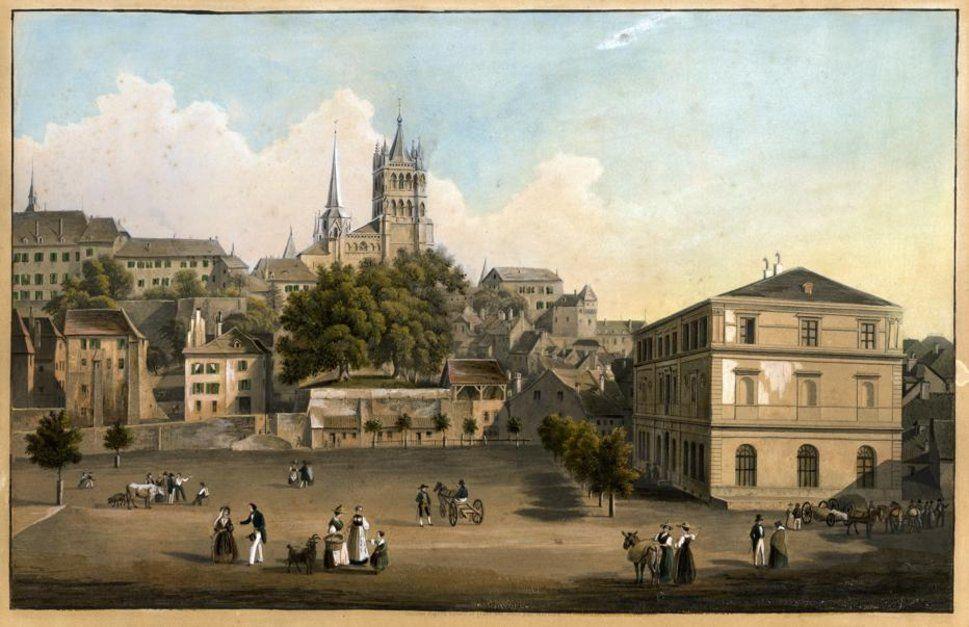 Vue De La Place De La Riponne Avec A Droite Le Musee Arlaud Sur